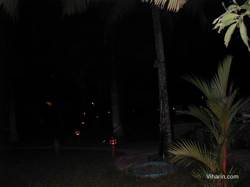 Garden of Coco Bay resort at night in Kumarakom