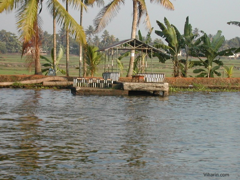 Viharin.com- nice view of Alleppey backwaters as seen from houseboat