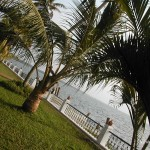 View of Vembanad lake from garden of Cocobay resort, Kerala- India