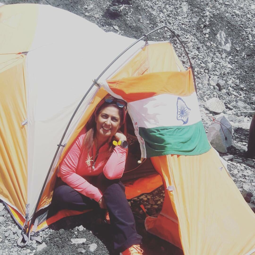 Sangeeta S Bahl sitting outside base camp at Everest
